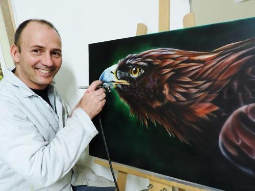 aigle à l aérographe sur toile , école du réalisme