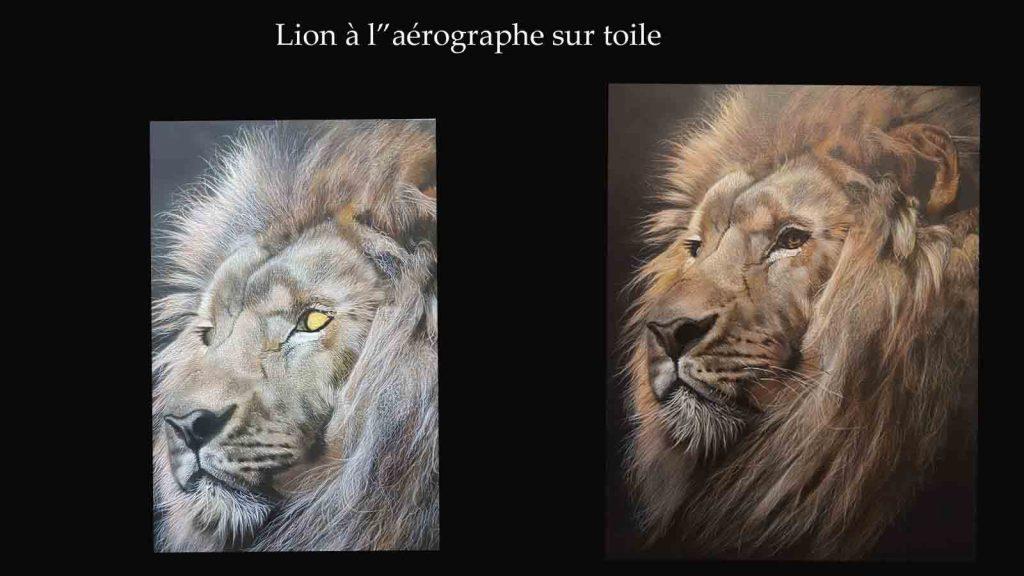 lion à l aérographe sur toile, formations et stage aérographe, école du réalisme