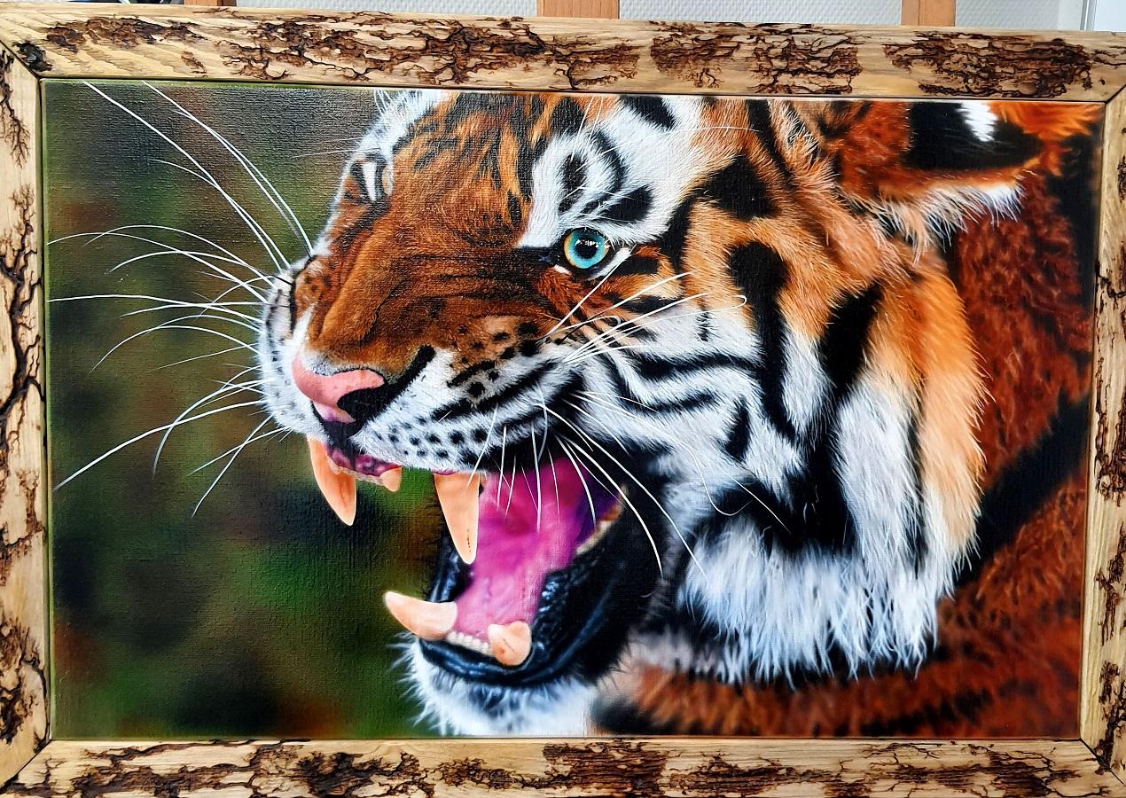 tigre à l aérographe sur toile, formation aérographe