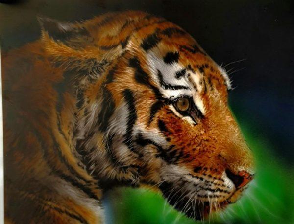 tigre-stage-aérographe-sur-toile-en lin-école-de-peinture-aérographe-peintre-peindre-formation-stage-vienne-Poitou-artiste-élève-tigre